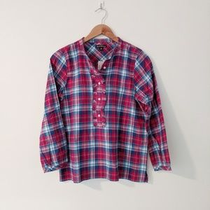 NWT J. Crew Factory Plaid Ruffle Popover Top